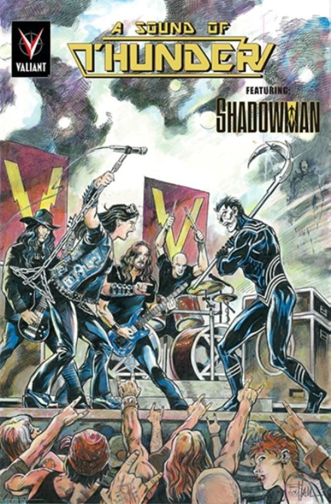 Paródia da capa de Shadowman #19 (1993), que contava com o Aerosmith.