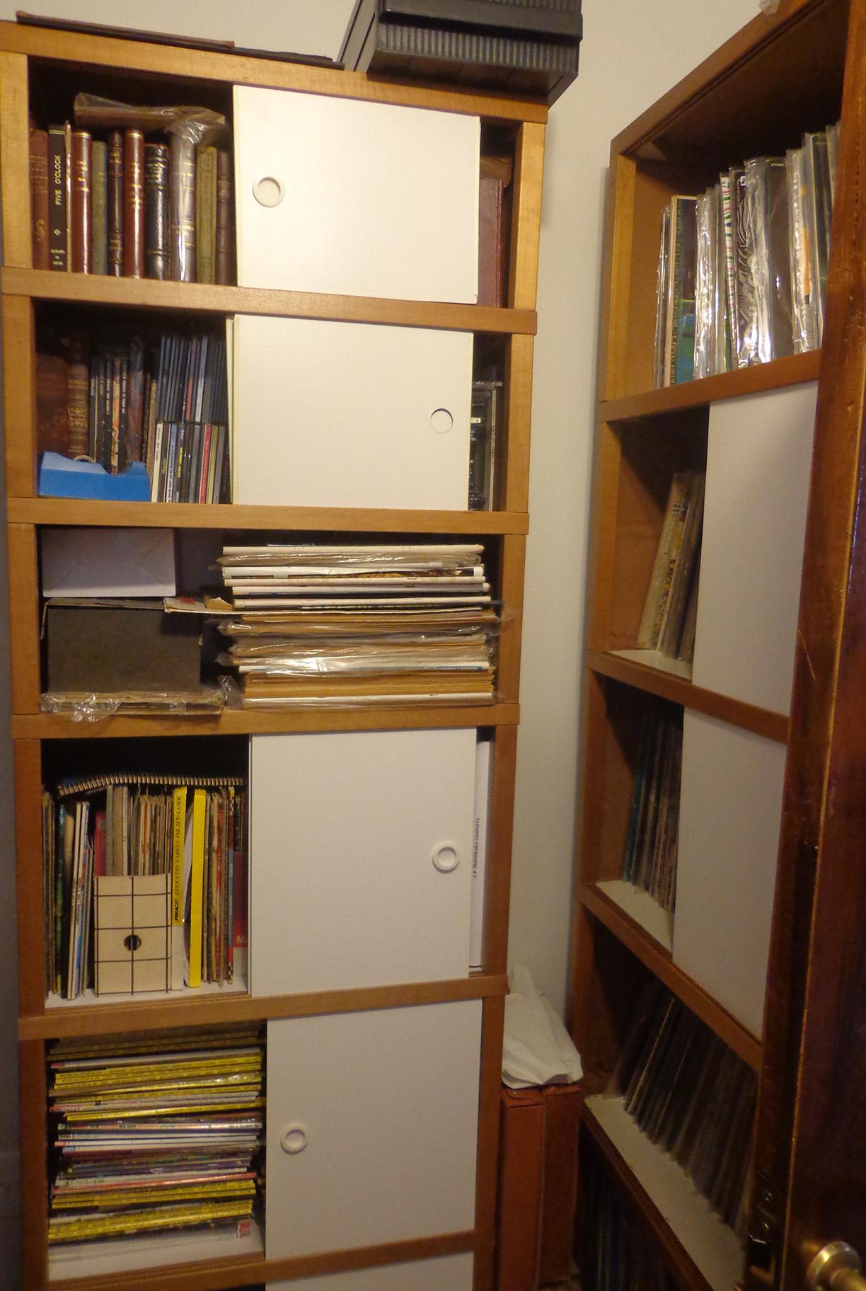 Parte dos acervos de revistas e LPs.