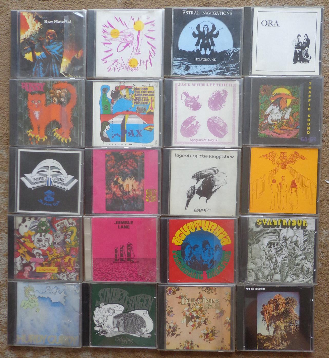 Coleção de CDs do selo inglês Background, todos eles primeira edição em CD, e todos são edições não autorizadas, caprichadas e com um som ótimo, o que obrigou o chileno dono do selo a fugir da Inglaterra nos anos 90. Conheci o figura no Chile.