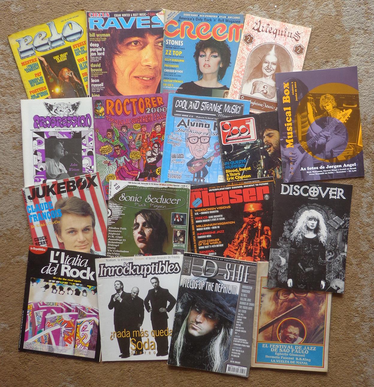 Algumas revistas de rock.