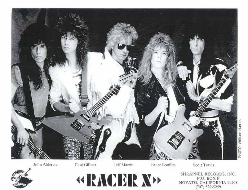 Racer X em sua forma mais exuberante: John Alderete, Paul Gilbert, Jeff Martin, Bruce Bouillet e Scott Travis
