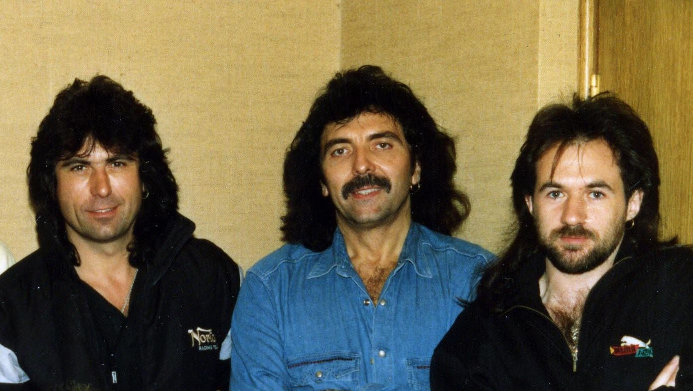 Cozy Powell, Tony Iommi e Tony Martin, o Black Sabbath em 1991