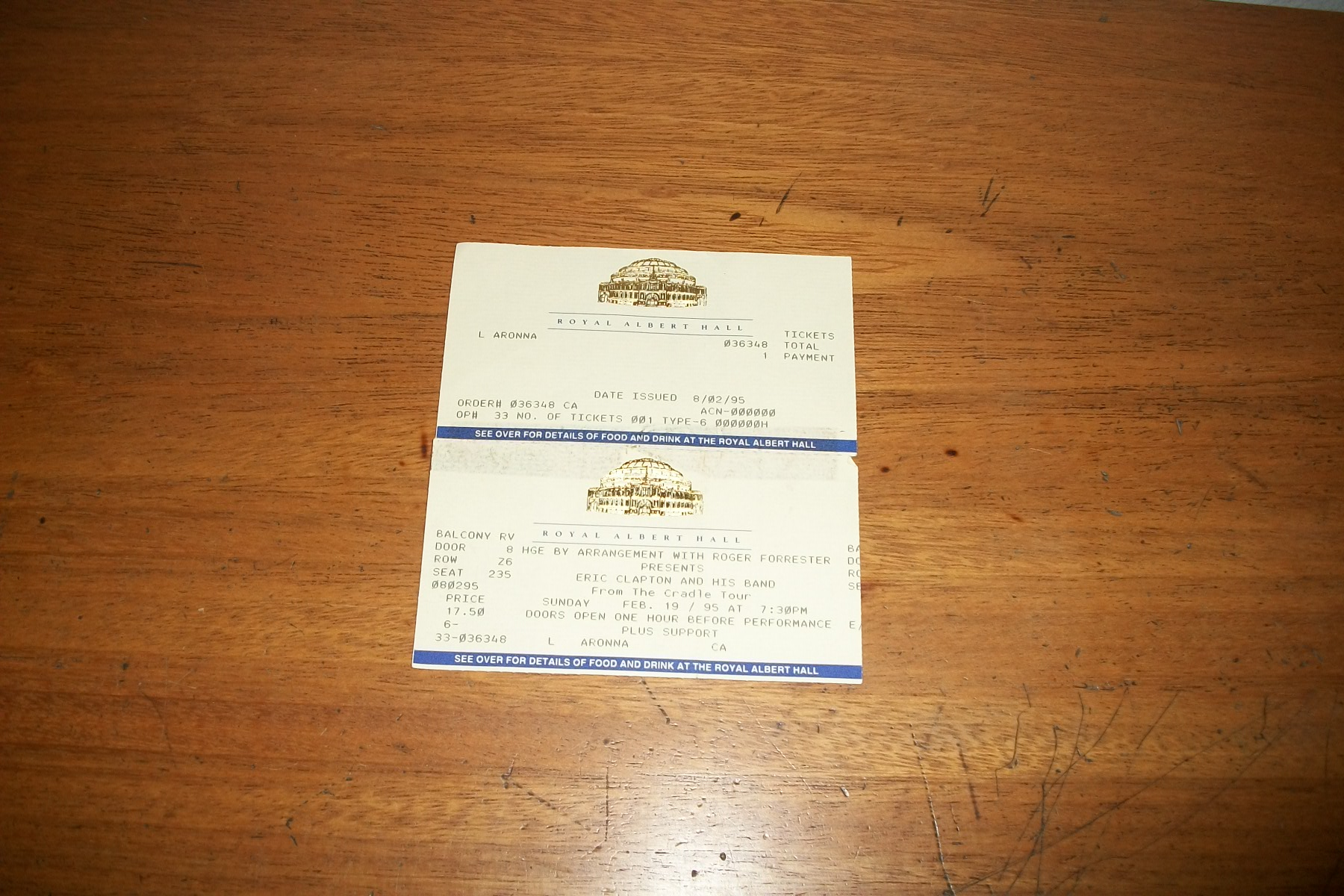 Ticket Eris Clapton - London 1995