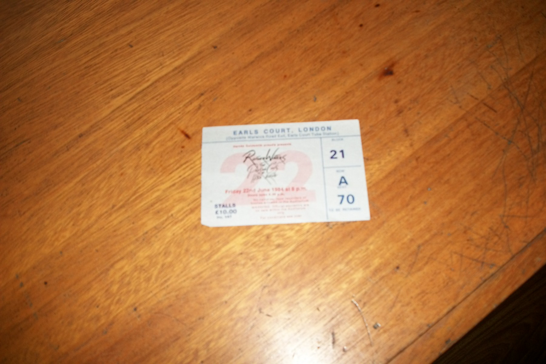 Ticket Roger Waters London 84