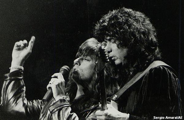 Joe Lynn Turner e Ritchie Blackmore, no show de São Paulo, em 1991