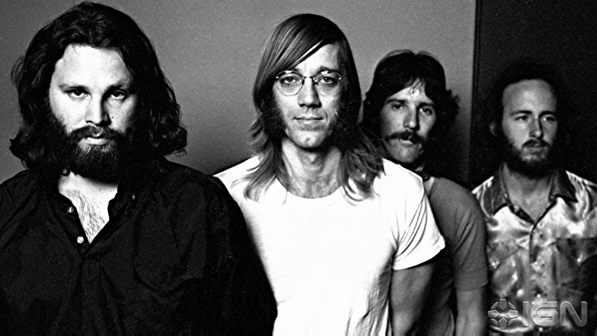 Jim Morrison, Ray Manzarek, John Paul Densmore e Robie Krieger em 1970. Com 26 anos, Jim já não estava mais na forma sex symbol que o consagrou, ostentando enorme barba e barriga